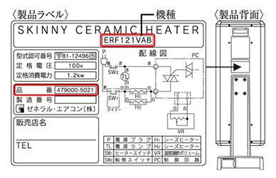 「スキニー セラミック ヒーター」の機種・品番確認図